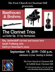 The First Church in Chestnut Hill proudly presents Beethoven + Brahms: Clarinet Trios @ The First Church in Chestnut Hill | Newton | Massachusetts | United States